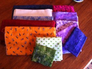 Just pulled possible fabrics for Mystery Night Sky from my stash (mostly yardage. Stash had a MAJOR