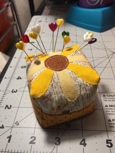Received this wonderful pincushion some time ago, FINALLY had it AND my phone in the same spot! I lo
