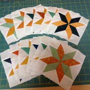 And here are my eight point stars all done! It takes a while to do all these smaller blocks, but I t