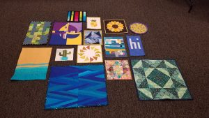 Here is all the mini quilts together. I took home the tiny cactus! 20190516_201114